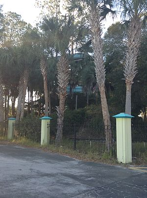 """Wild Waters - A partial view of """"The Hurricane"""" from outside the park."""