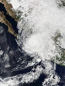 Satellite image of Hurricane Willa nearing landfall in Sinaloa, Mexico on October 23.