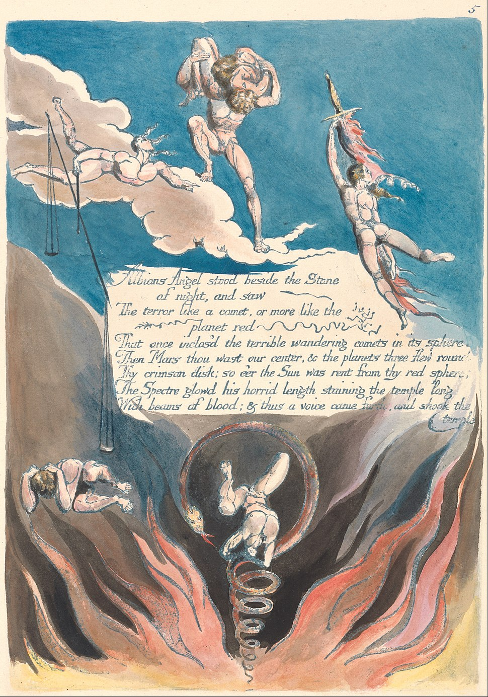 """William Blake - America. A Prophecy, Plate 7, """"Albions Angel stood...."""" - Google Art Project"""