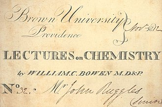"Alpert Medical School - In 1811, Brown became the third institution in New England to establish a medical department, formally titled ""Medical Lectures in Brown University."" Pictured above is the cover of the chemistry course textbook by Dr. William C. Bowen, one of the first lecturers at the medical school."