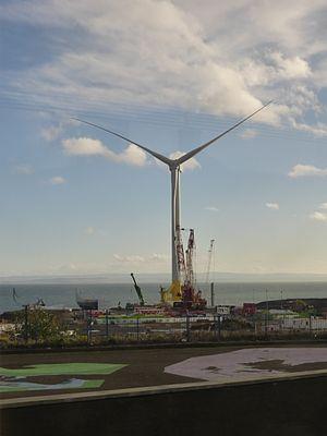 Leven, Fife - Wind turbine under construction at Methil