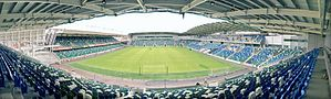 An internal view of Windsor Park stadium as it nears completion.