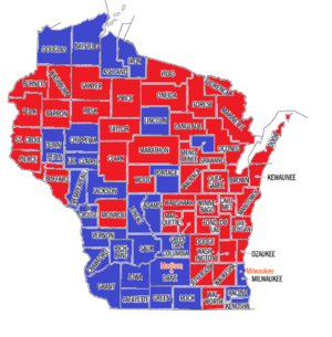 Wisconsin gubernatorial recall election - Results of the Wisconsin Gubernatorial Primary on May 8, 2012. Red counties had more votes for Walker than all Democrats combined. Blue counties had more votes for all Democrats combined than Walker.