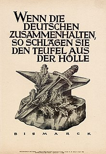 """Bismarck's punchy sayings were borrowed by his successors, including the Nazis.[143] This 1942 Nazi propaganda poster quotes Bismarck: """"When the Germans hold together, they beat the devil out of hell."""" (Source: Wikimedia)"""