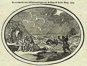 Wolraad Woltemade - 18th century drawing depicting Wolraad Woltemade's rescue of 14 sailors