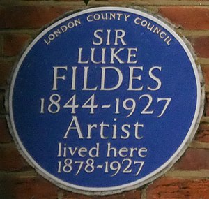 Woodland House - Woodland House blue plaque commemorating Luke Fildes at the site