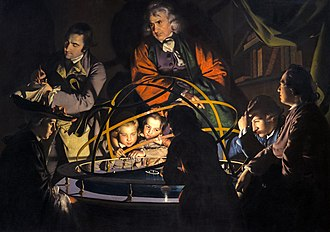 An Experiment on a Bird in the Air Pump - A Philosopher Lecturing on the Orrery (1768)
