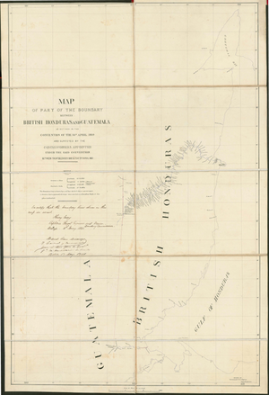 Belizean–Guatemalan territorial dispute - Map of the border between British Honduras and Guatemala as delineated in the Wyke–Aycinena Treaty of 1859