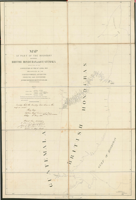 1861 map of the boundary between British Honduras (now Belize) and Guatemala Wyke-Aycinena Treaty Map.png