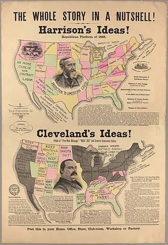 United States presidential election, 1888 - Grover Cleveland-Benjamin Harrison presidential (1888) campaign poster about the trade policy of the two candidates. The map supports the work of the Harrison campaign.