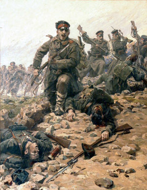 "First Balkan War - ""Bulgarians overrun the Ottoman positions à la bayonette"", by the Czech painter Jaroslav Věšín."