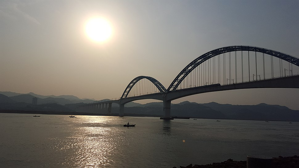 Yichang Yangtze River Railway Bridge in the Backlighting