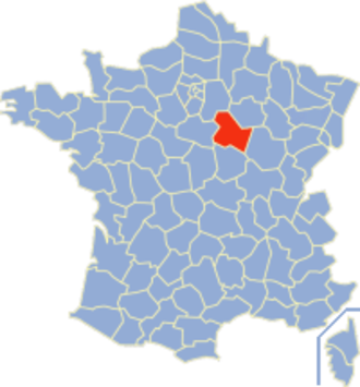 Communes of the Yonne department - Image: Yonne Position