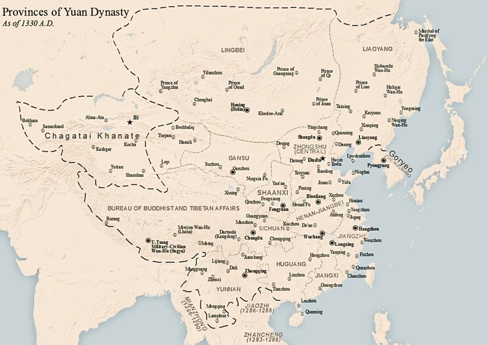 Location of Yüan dynasty
