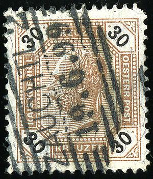 Suchdol nad Odrou - Austrian KK stamp, cancelled at the station in 1899