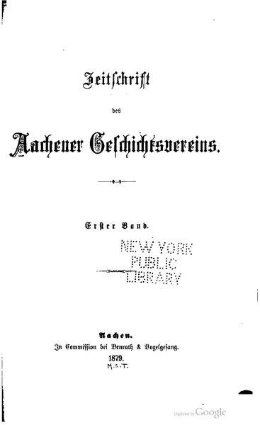 File:Zeitschrift des Aachener Geschichtsvereins 1.pdf