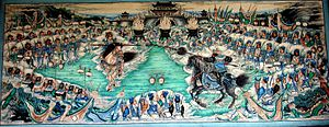 Battle of Jiameng Pass - A mural depicting the duel between Zhang Fei and Ma Chao at Jiameng Pass.