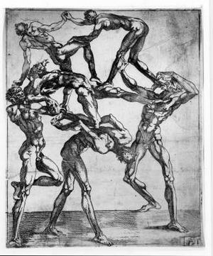 """Juste de Juste - One of Juste's larger series of """"Human Pyramid"""" etchings"""