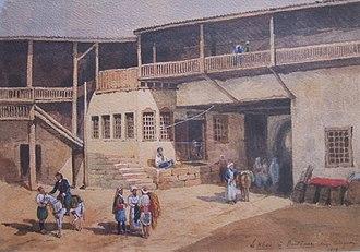 "Maxime Collignon - ""Le khan à Bouldour"" (in Pisidia, Anatolia); illustration by Maxime Collignon (1878)."