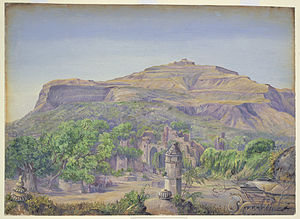 Champaner-Pavagadh Archaeological Park -  Oil painting on paper, Champaner, 1879