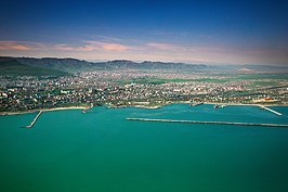 Aerial view of Makhachkala and the Caspian Sea