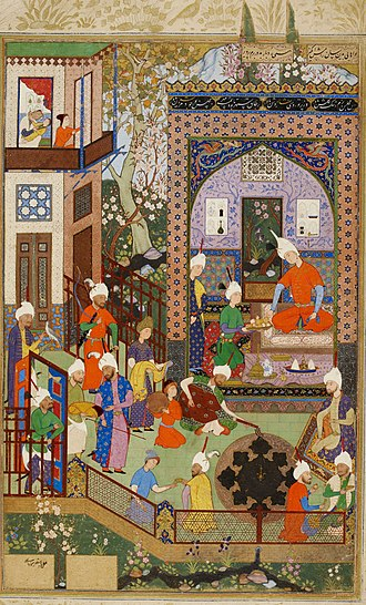 Abd al-Samad - Barbad Plays for Khusraw, Khamsa of Nizami, British Library, Oriental 2265, 1539–43, inscribed Mirza Ali at bottom left.