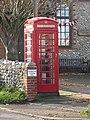 -2020-11-12 K6 red telephone box, Upper Sheringham village hall, Norfolk.JPG