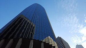 101 California Street - Looking up at 101 California, highlighting the faceted cylindrical structure.