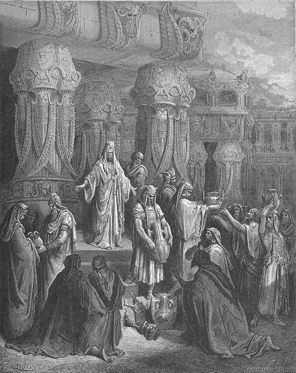 성전의 기명을 꺼내는 고레스 왕 (귀스타브 도레, Gustave Dore, 1865년)