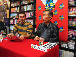 Kevin Keller (comics) - Image: 12.5.12George Takei Dan Parent By Luigi Novi 13