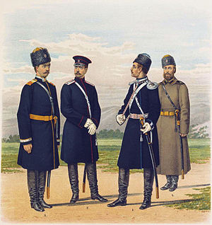 Amur Cossacks - Different cossack hosts in the late 19th century. Figure at right in greatcoat is an Amur Cossack.