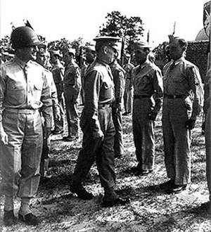 13th Airborne Division (United States) - Major General Eldridge G. Chapman and Lieutenant General Lesley J. McNair, commander of Army Ground Forces, inspect troopers of the 13th Airborne Division, 13 May 1944.