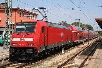 Ingolstadt Hauptbahnhof - Class 146 locomotive with the RE service to Nuremberg in Ingolstadt Hbf