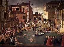 1500 Gentile Bellini, Miracle of the Cross at the Bridge of S. Lorenzo Galleria dell'Accademia, Venice.jpg