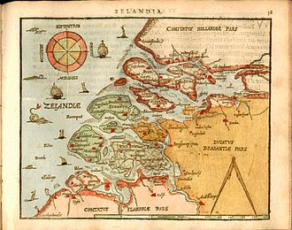 Relief of Goes - Map of Zeeland (in green) at the end of the 16th century, by Heyns Ortelius.