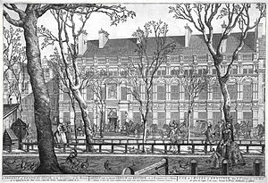 Willem Bentinck van Rhoon - House of Willem Bentinck at Lange Voorhout Nr. 7 in The Hague. Print by Paulus Constantijn la Fargue in 1751.
