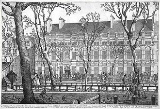Willem Bentinck van Rhoon - House of Willem Bentinck at Lange Voorhout Nr. 7 in The Hague. Print by Paulus Constantijn la Fargue in 1751.