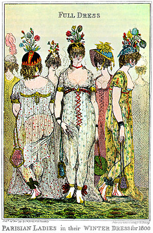Incroyables and Merveilleuses - Paris Ladies in their Winter dress (1799). English caricature by George Cruikshank
