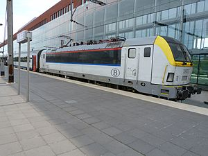 Belgian railway line 50A - Brugge Centraal with NMBS InterCity train.