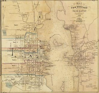 Timeline of New Bedford, Massachusetts - Image: 1851 map New Bedford Massachusetts by Walling BPL 10676