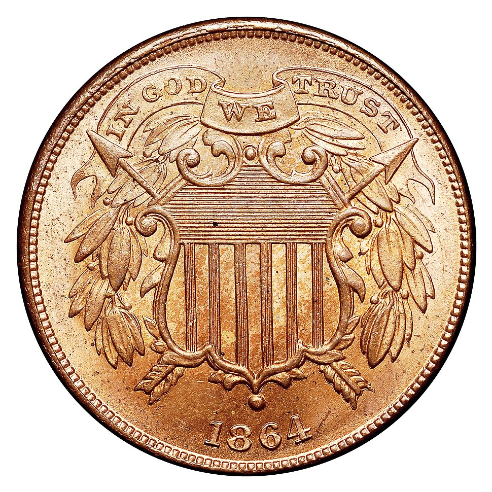 1864 2C Small Motto Red (obv)