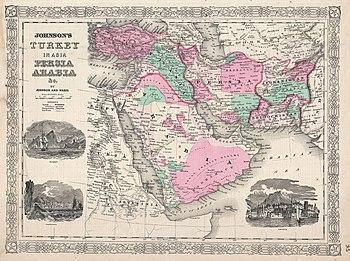 خريطة ترجع لِسنة 1866م تُصوِّر المنطقة المعروفة اليوم بِالشرق الأوسط: شبه الجزيرة العربيَّة ومصر والشَّام والعراق والأناضول وإيران وأفغانستان، ويومذاك كانت هذه البلاد مُقسَّمة بين الدولتين العُثمانيَّة والقاجاريَّة