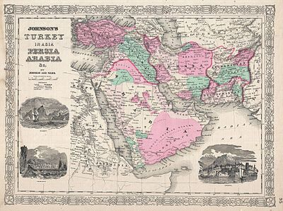 1866 Johnson Map of Arabia, Persia, Turkey and Afghanistan (Iraq) - Geographicus - Arabia-johnson-1866.jpg