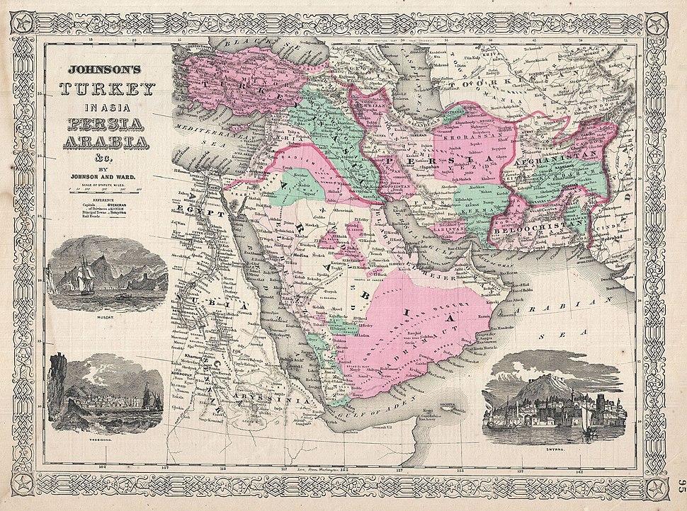 1866 Johnson Map of Arabia, Persia, Turkey and Afghanistan (Iraq) - Geographicus - Arabia-johnson-1866