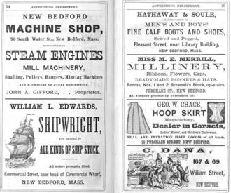 Timeline of New Bedford, Massachusetts - Image: 1873 ads New Bedford Massachusetts Directory p 14