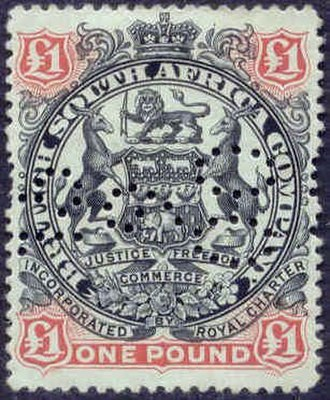 White settlement in Zimbabwe before 1923 - British South Africa Company Stamp, 1897