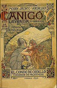 1898, Canigó, leyenda pirenaica del tiempo de la Reconquista, de Verdaguer, edición en castellano del Conde de Cedillo, ilustración de Arija.jpg