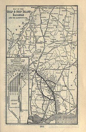 Gulf and Ship Island Railroad - Image: 1903 Poor's Gulf and Ship Island Railroad