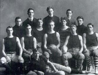 Christian Steinmetz - 1903 Wisconsin basketball team (Steinmetz in middle holding ball)