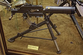 Schwarzlose machine gun - The first variant, designated M.7. Note the gap between the top cover and the water jacket, that isn't present on the later models.